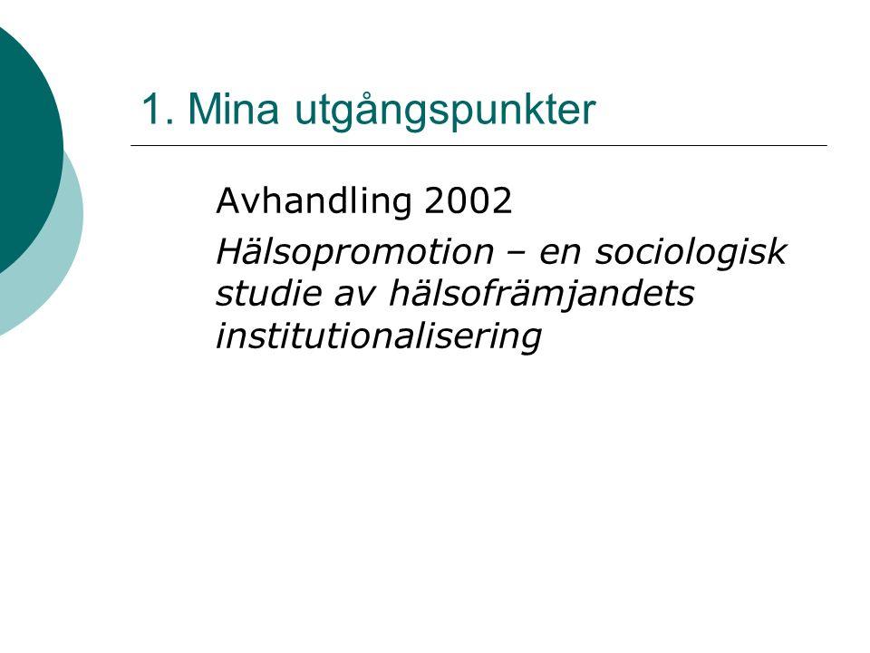 1. Mina utgångspunkter Avhandling 2002 Hälsopromotion – en sociologisk studie av hälsofrämjandets institutionalisering