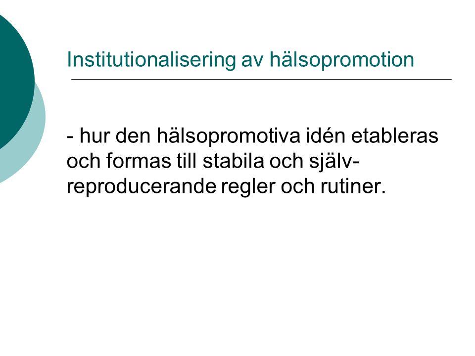 Institutionalisering av hälsopromotion - hur den hälsopromotiva idén etableras och formas till stabila och själv- reproducerande regler och rutiner.