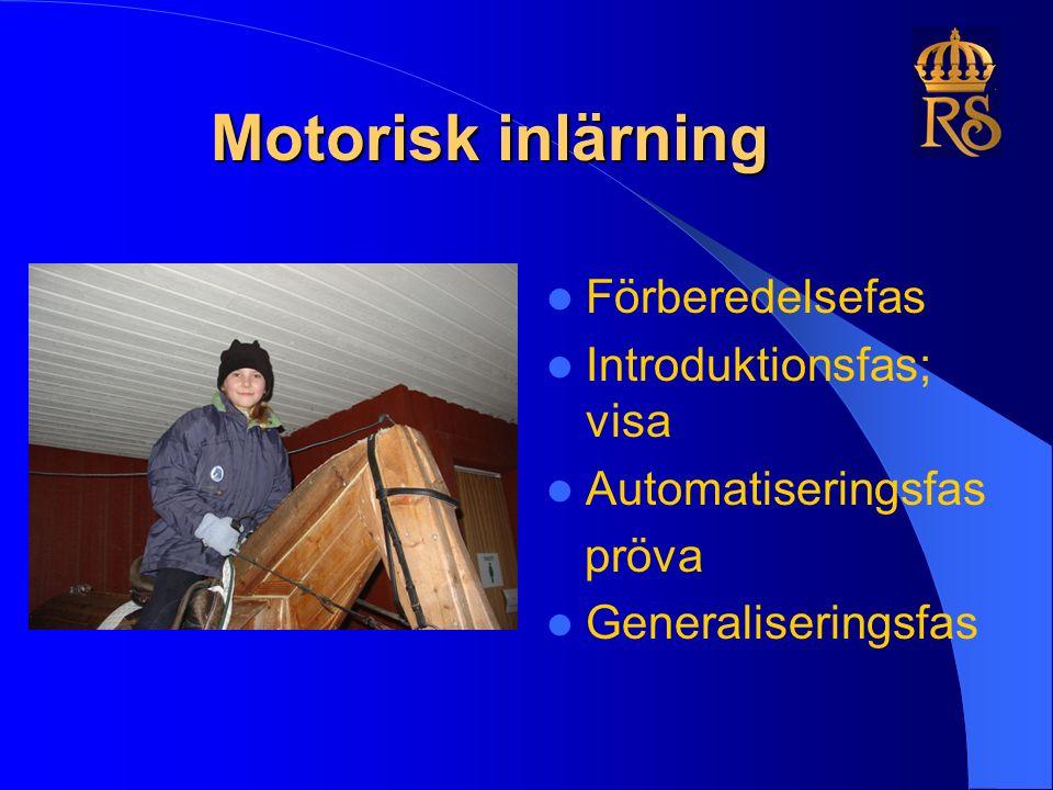 Motorisk inlärning Förberedelsefas Introduktionsfas; visa Automatiseringsfas pröva Generaliseringsfas