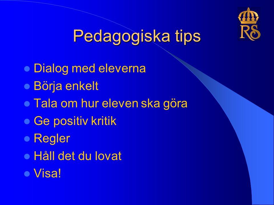 Pedagogiska tips Dialog med eleverna Börja enkelt Tala om hur eleven ska göra Ge positiv kritik Regler Håll det du lovat Visa!