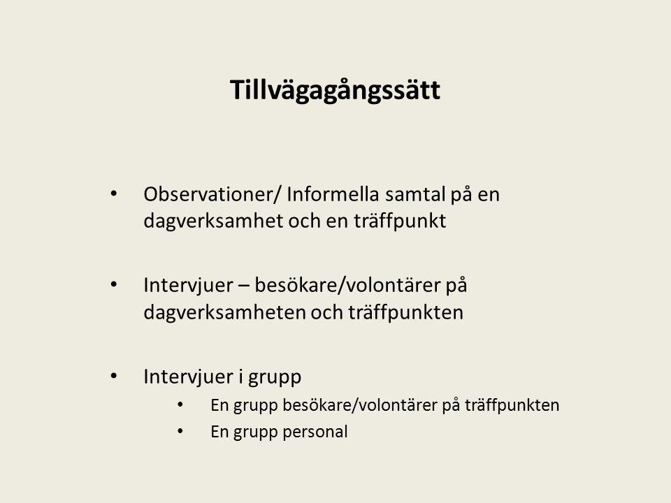 Tillvägagångssätt Observationer/ Informella samtal på en dagverksamhet och en träffpunkt Intervjuer – besökare/volontärer på dagverksamheten och träffpunkten Intervjuer i grupp En grupp besökare/volontärer på träffpunkten En grupp personal