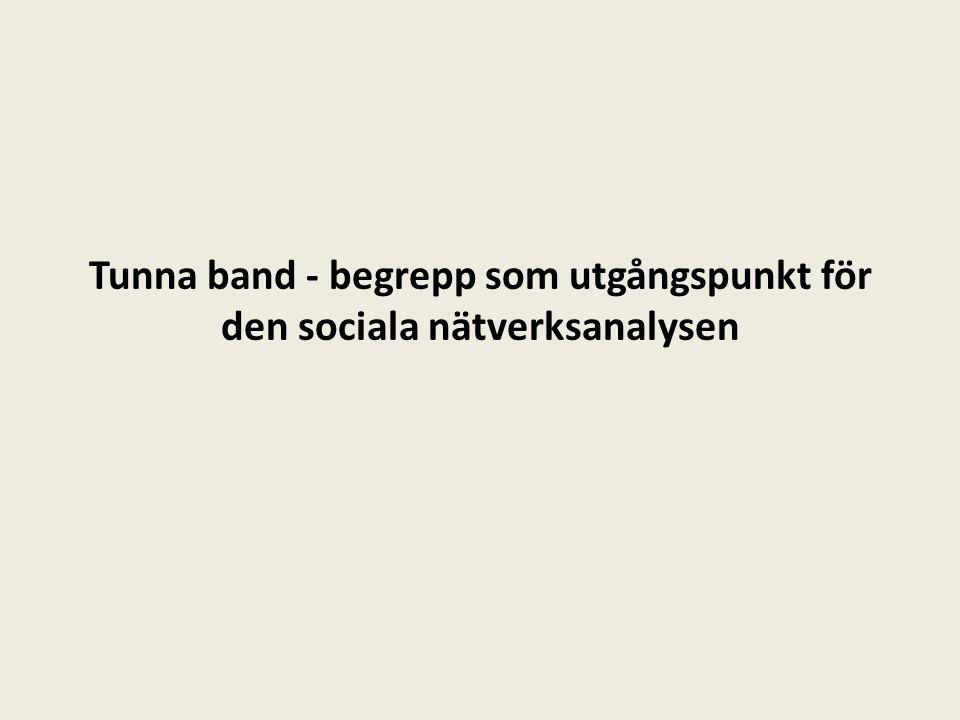 Tunna band - begrepp som utgångspunkt för den sociala nätverksanalysen