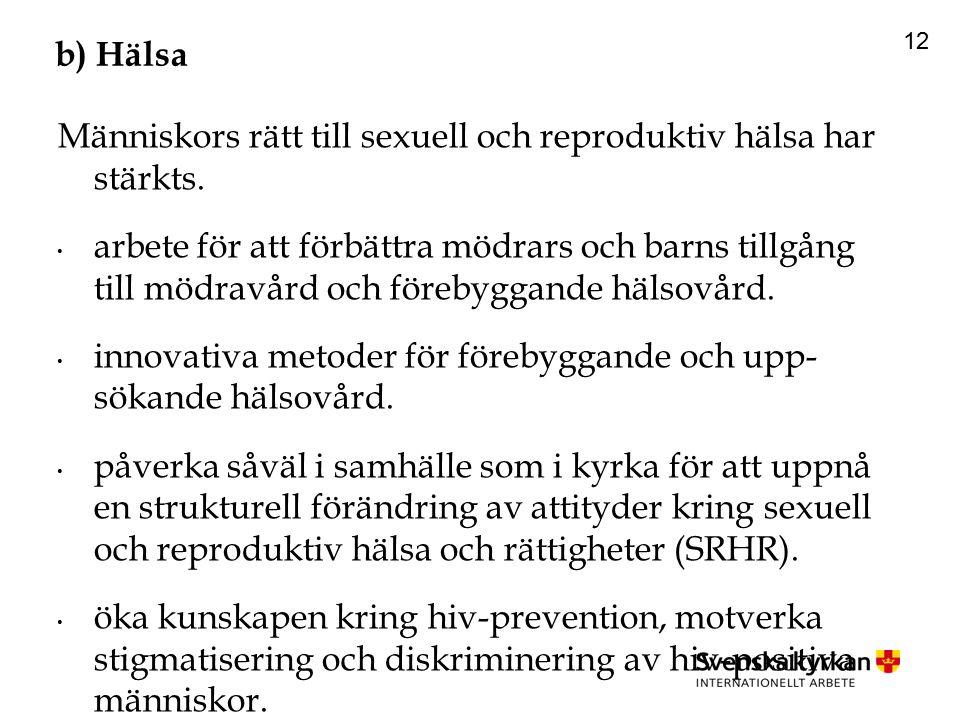 12 b) Hälsa Människors rätt till sexuell och reproduktiv hälsa har stärkts.