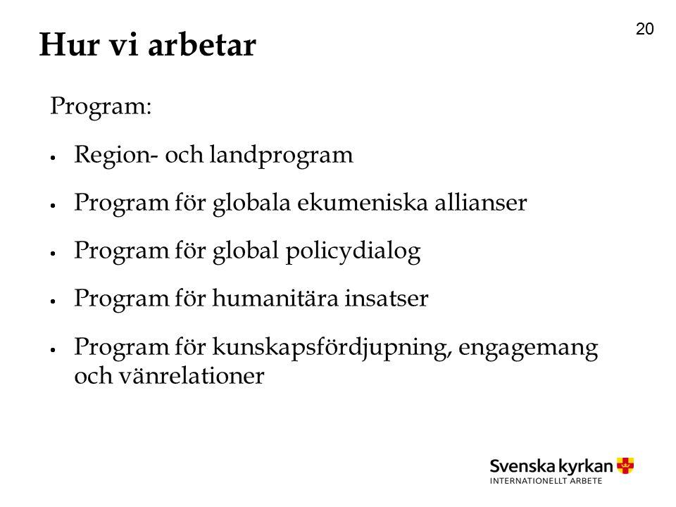 20 Hur vi arbetar Program:  Region- och landprogram  Program för globala ekumeniska allianser  Program för global policydialog  Program för humanitära insatser  Program för kunskapsfördjupning, engagemang och vänrelationer