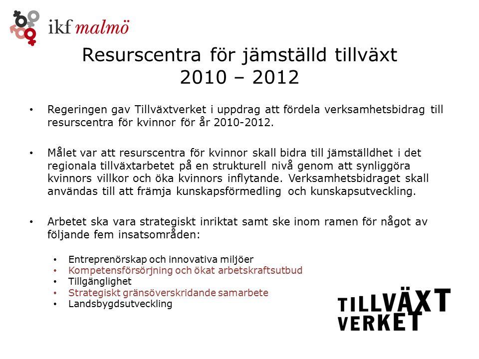 Resurscentra för jämställd tillväxt 2010 – 2012 Regeringen gav Tillväxtverket i uppdrag att fördela verksamhetsbidrag till resurscentra för kvinnor för år 2010-2012.