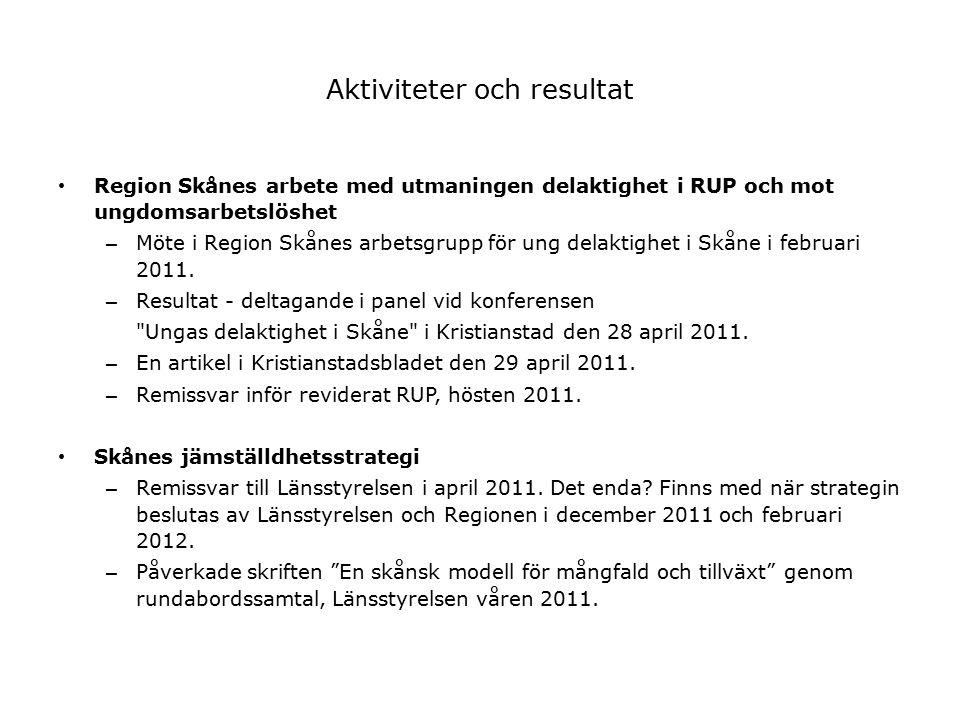 Aktiviteter och resultat Region Skånes arbete med utmaningen delaktighet i RUP och mot ungdomsarbetslöshet – Möte i Region Skånes arbetsgrupp för ung delaktighet i Skåne i februari 2011.