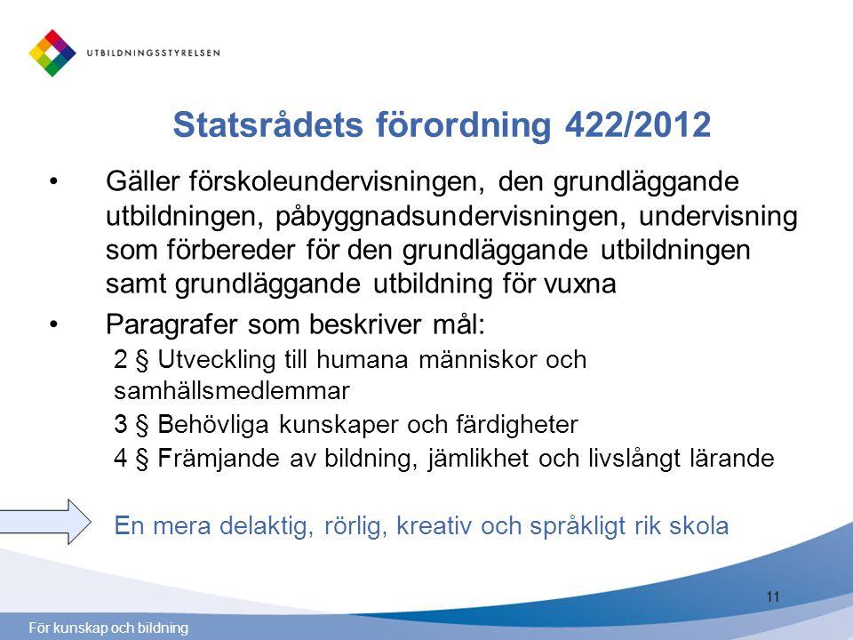 För kunskap och bildning Statsrådets förordning 422/2012 Gäller förskoleundervisningen, den grundläggande utbildningen, påbyggnadsundervisningen, unde