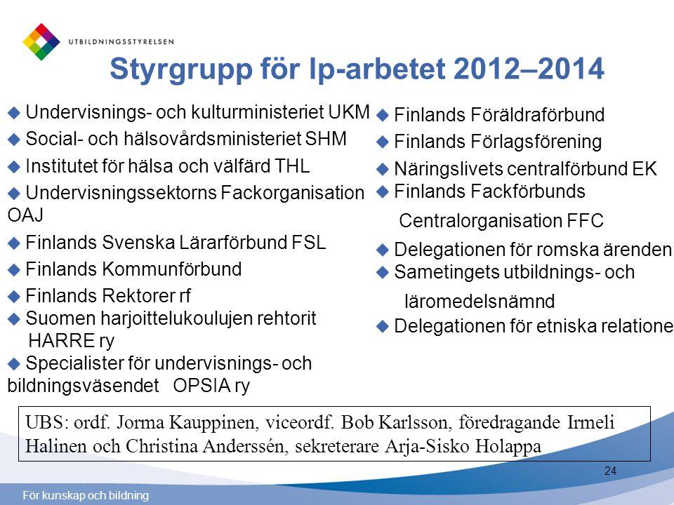 För kunskap och bildning Styrgrupp för lp-arbetet 2012–2014 Undervisnings- och kulturministeriet UKM Social- och hälsovårdsministeriet SHM Institutet