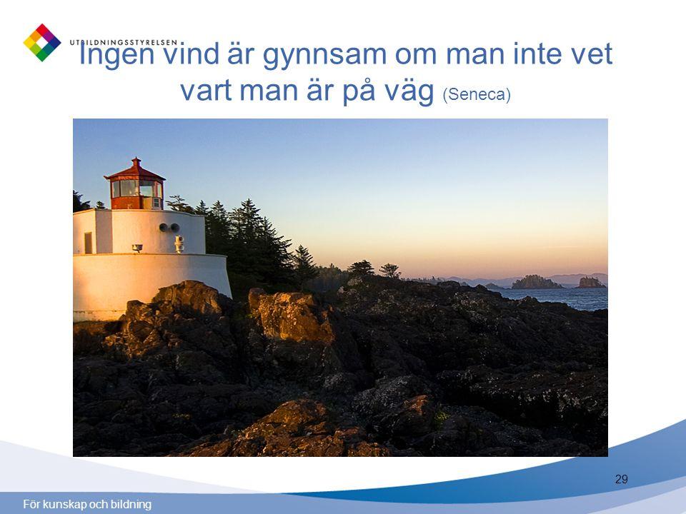 För kunskap och bildning Ingen vind är gynnsam om man inte vet vart man är på väg (Seneca) 29