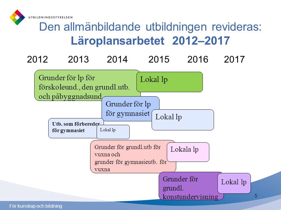 För kunskap och bildning Den allmänbildande utbildningen revideras: Läroplansarbetet 2012–2017 2012 2013 2014 2015 2016 2017 Grunder för lp för försko