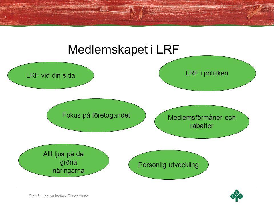 Sid 15 | Lantbrukarnas Riksförbund Medlemskapet i LRF LRF i politiken Allt ljus på de gröna näringarna Medlemsförmåner och rabatter LRF vid din sida Fokus på företagandet Personlig utveckling