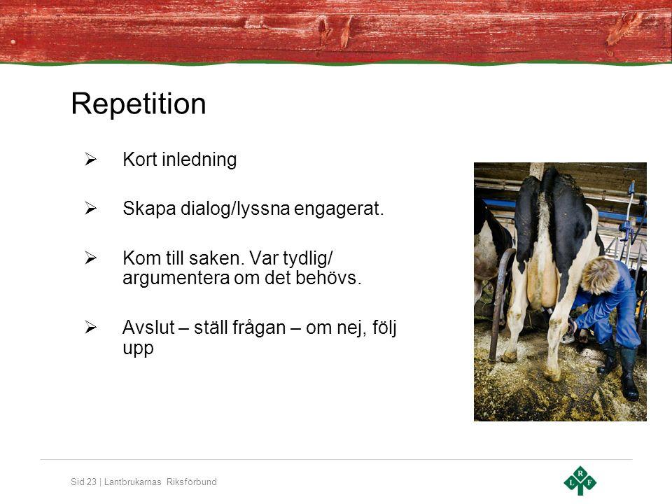 Sid 23 | Lantbrukarnas Riksförbund Repetition  Kort inledning  Skapa dialog/lyssna engagerat.  Kom till saken. Var tydlig/ argumentera om det behöv