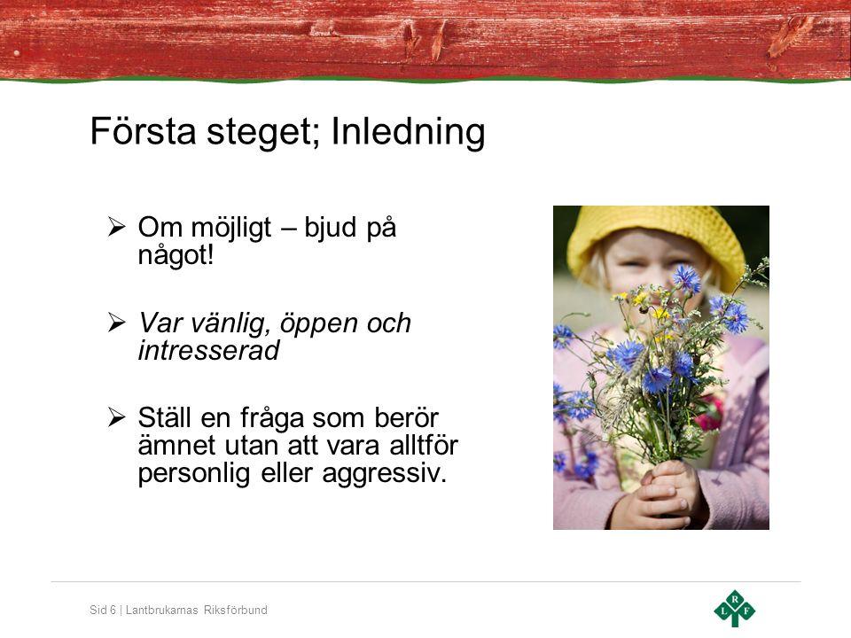 Sid 6 | Lantbrukarnas Riksförbund Första steget; Inledning  Om möjligt – bjud på något.