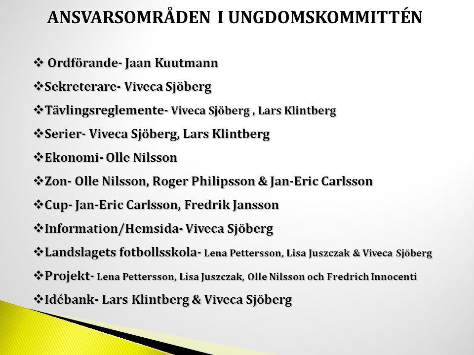 ANSVARSOMRÅDEN I UNGDOMSKOMMITTÉN  Ordförande- Jaan Kuutmann  Sekreterare- Viveca Sjöberg  Tävlingsreglemente- Viveca Sjöberg, Lars Klintberg  Ser