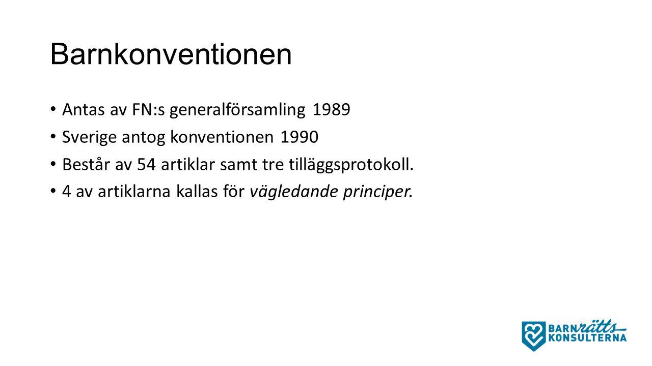 Barnkonventionen Antas av FN:s generalförsamling 1989 Sverige antog konventionen 1990 Består av 54 artiklar samt tre tilläggsprotokoll.