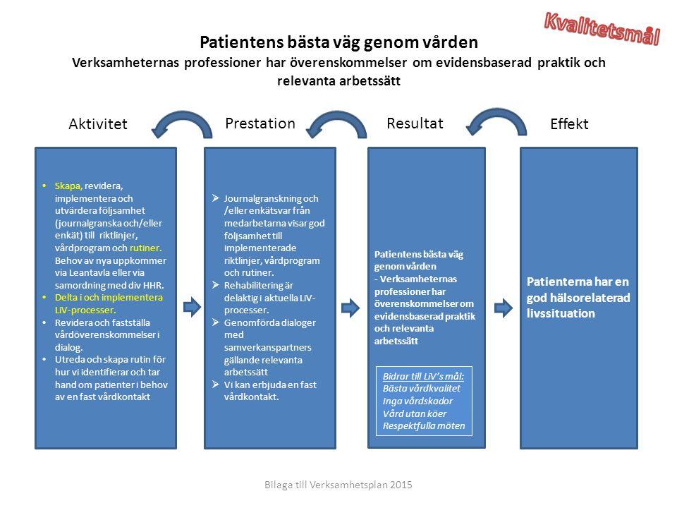 Effekt ResultatPrestation Aktivitet Patienterna har en god hälsorelaterad livssituation Patientens bästa väg genom vården - Verksamheternas profession