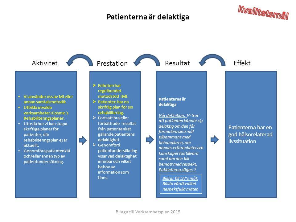 EffektResultat Prestation Aktivitet Patienterna har en god hälsorelaterad livssituation Patienterna är delaktiga Vår definition: Vi tror att patienten