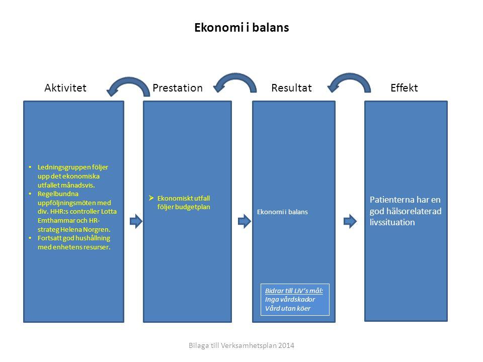 EffektResultatPrestationAktivitet Patienterna har en god hälsorelaterad livssituation Ekonomi i balans  Ekonomiskt utfall följer budgetplan Ledningsg