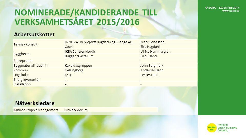 NOMINERADE/KANDIDERANDE TILL VERKSAMHETSÅRET 2015/2016 © SGBC – Stockholm 2014 www.sgbc.se Teknisk konsult INNOVATIV projekteringsledning Sverige ABMa
