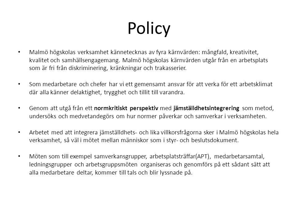 Policy Malmö högskolas verksamhet kännetecknas av fyra kärnvärden: mångfald, kreativitet, kvalitet och samhällsengagemang. Malmö högskolas kärnvärden