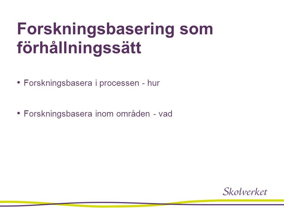 Forskningsbasering som förhållningssätt Forskningsbasera i processen - hur Forskningsbasera inom områden - vad