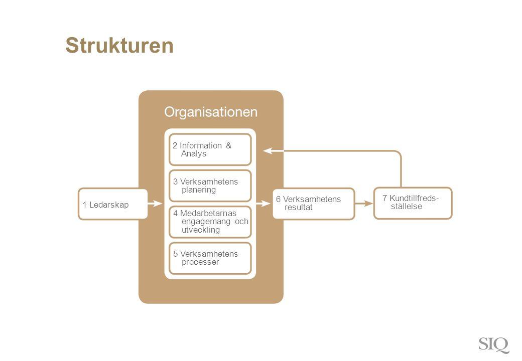 Strukturen 1 Ledarskap 2 Information & Analys 3 Verksamhetens planering 4 Medarbetarnas engagemang och utveckling 5 Verksamhetens processer 6 Verksamhetens resultat 7 Kundtillfreds- ställelse