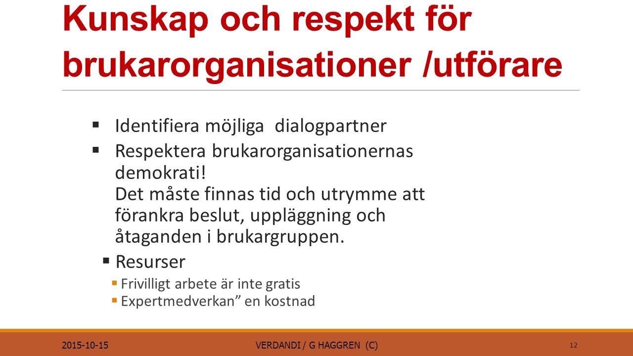 Kunskap och respekt för brukarorganisationer /utförare  Identifiera möjliga dialogpartner  Respektera brukarorganisationernas demokrati.