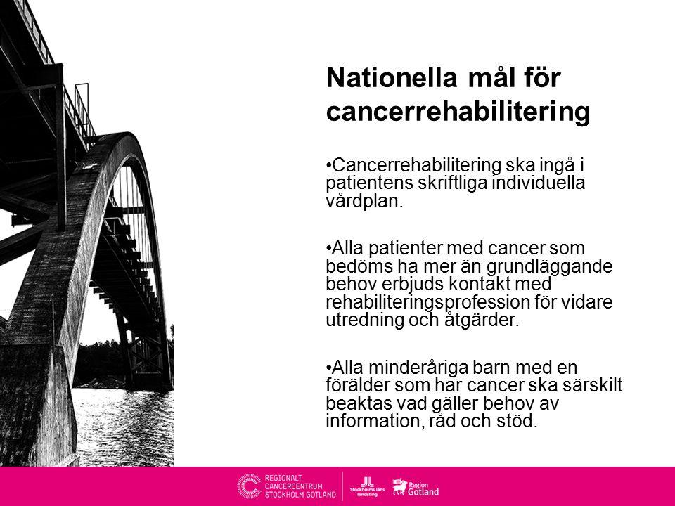 Nationella mål för cancerrehabilitering Cancerrehabilitering ska ingå i patientens skriftliga individuella vårdplan.