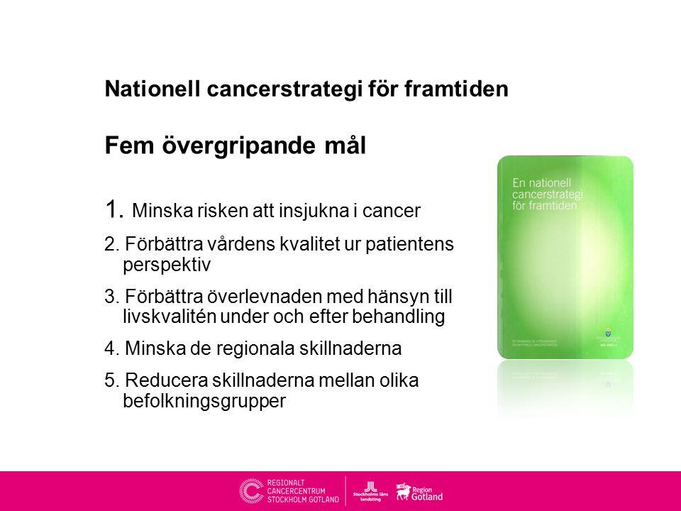 Nationell cancerstrategi för framtiden Fem övergripande mål 1.