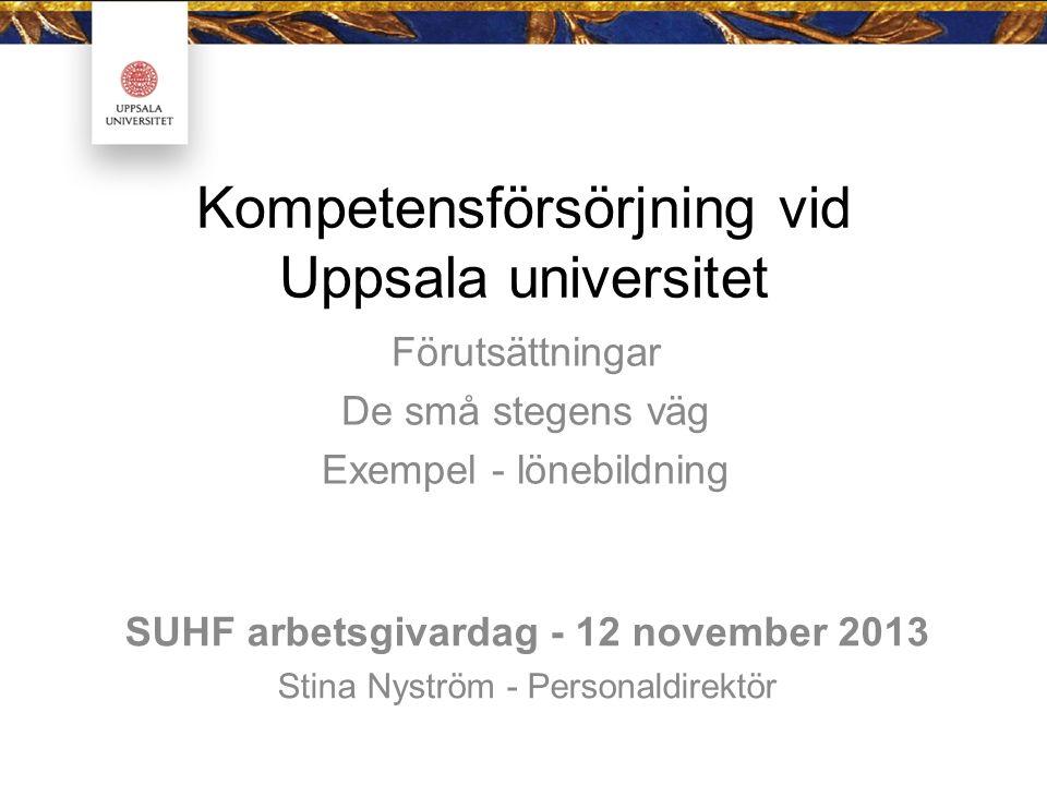Kompetensförsörjning vid Uppsala universitet Förutsättningar De små stegens väg Exempel - lönebildning SUHF arbetsgivardag - 12 november 2013 Stina Nyström - Personaldirektör