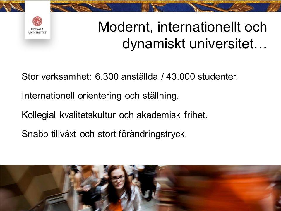 Modernt, internationellt och dynamiskt universitet… Stor verksamhet: 6.300 anställda / 43.000 studenter. Internationell orientering och ställning. Kol