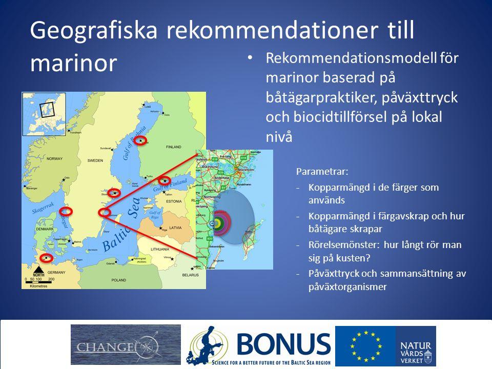 Geografiska rekommendationer till marinor Rekommendationsmodell för marinor baserad på båtägarpraktiker, påväxttryck och biocidtillförsel på lokal niv