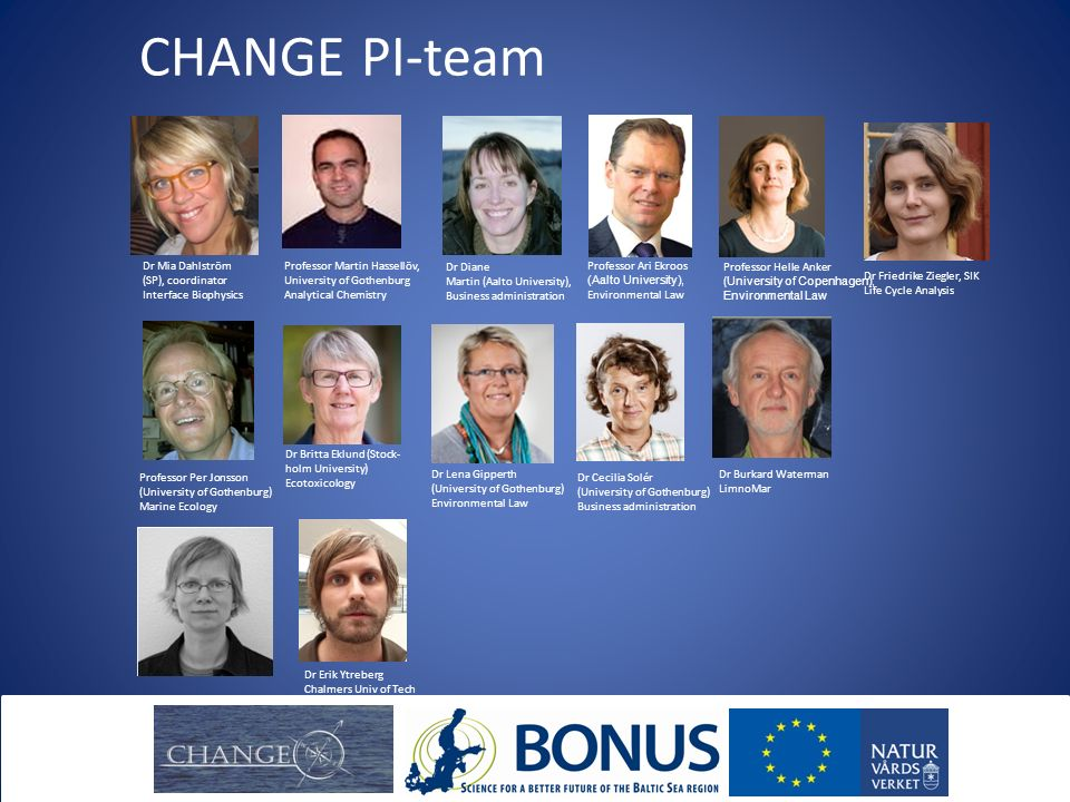 CHANGE PI-team Dr Mia Dahlström (SP), coordinator Interface Biophysics Professor Martin Hassellöv, University of Gothenburg Analytical Chemistry Dr Diane Martin (Aalto University), Business administration Professor Ari Ekroos (Aalto University), Environmental Law Professor Helle Anker ( University of Copenhagen), Environmental Law Professor Per Jonsson (University of Gothenburg) Marine Ecology Dr Britta Eklund (Stock- holm University) Ecotoxicology Dr Lena Gipperth (University of Gothenburg) Environmental Law Dr Cecilia Solér (University of Gothenburg) Business administration Dr Burkard Waterman LimnoMar Dr Erik Ytreberg Chalmers Univ of Tech Dr Friedrike Ziegler, SIK Life Cycle Analysis Dr Ann-Kristin Eriksson Stockholms universitet Ekotoxikologi