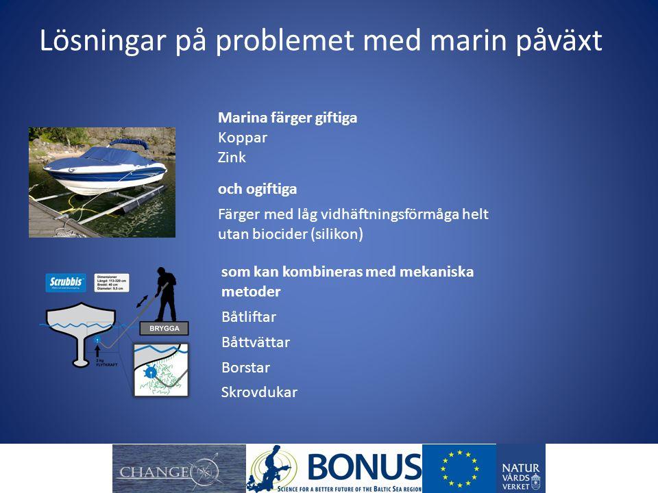 Lösningar på problemet med marin påväxt och ogiftiga Färger med låg vidhäftningsförmåga helt utan biocider (silikon) Marina färger giftiga Koppar Zink