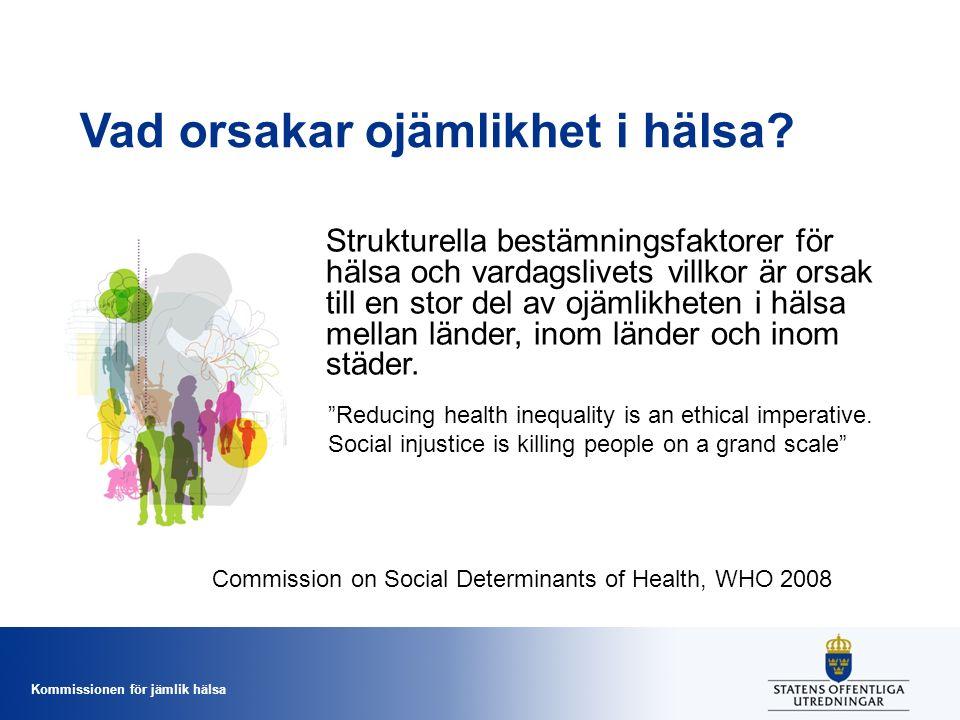 Kommissionen för jämlik hälsa Strukturella bestämningsfaktorer för hälsa och vardagslivets villkor är orsak till en stor del av ojämlikheten i hälsa m