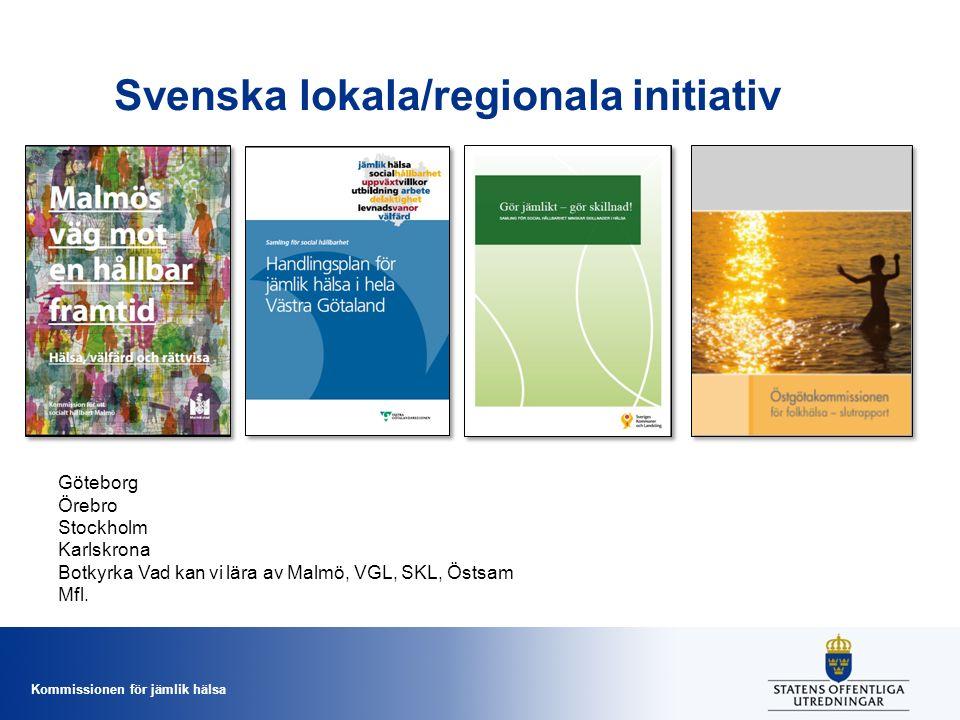 Kommissionen för jämlik hälsa Svenska lokala/regionala initiativ Göteborg Örebro Stockholm Karlskrona Botkyrka Vad kan vi lära av Malmö, VGL, SKL, Öst
