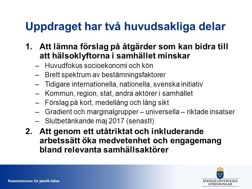 Kommissionen för jämlik hälsa Uppdraget har två huvudsakliga delar 1.Att lämna förslag på åtgärder som kan bidra till att hälsoklyftorna i samhället m