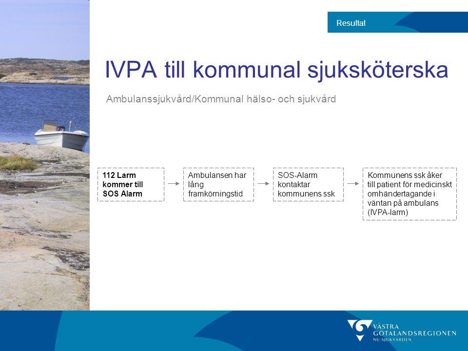 IVPA till kommunal sjuksköterska Resultat 112 Larm kommer till SOS Alarm Ambulansen har lång framkörningstid SOS-Alarm kontaktar kommunens ssk Kommune