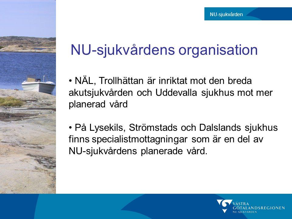 NU-sjukvårdens organisation NÄL, Trollhättan är inriktat mot den breda akutsjukvården och Uddevalla sjukhus mot mer planerad vård På Lysekils, Strömst