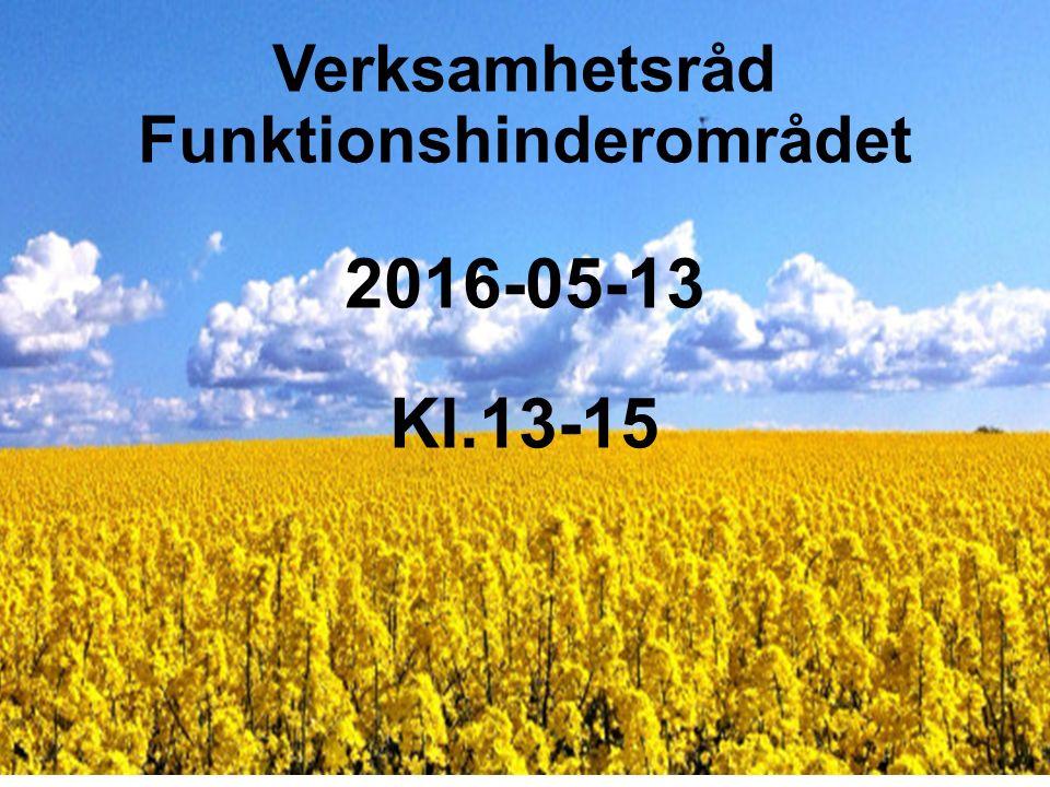 Verksamhetsråd Funktionshinderområdet 2016-05-13 Kl.13-15