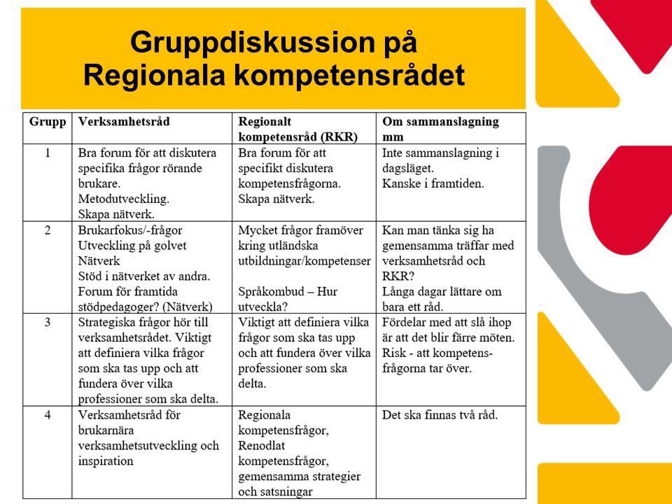 Gruppdiskussion på Regionala kompetensrådet