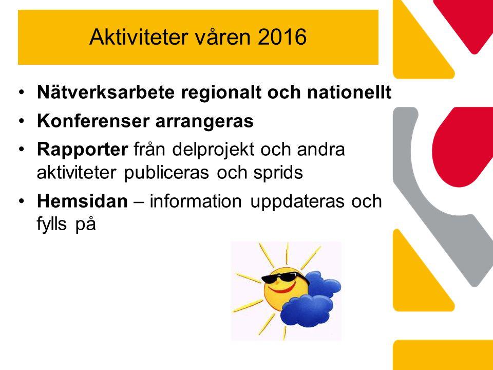 Aktiviteter våren 2016 Nätverksarbete regionalt och nationellt Konferenser arrangeras Rapporter från delprojekt och andra aktiviteter publiceras och sprids Hemsidan – information uppdateras och fylls på