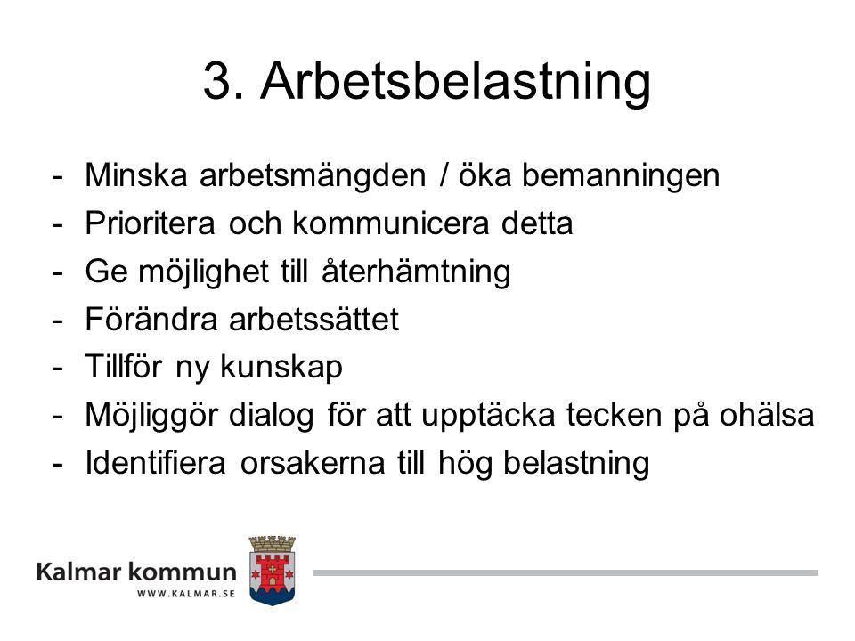 3. Arbetsbelastning -Minska arbetsmängden / öka bemanningen -Prioritera och kommunicera detta -Ge möjlighet till återhämtning -Förändra arbetssättet -
