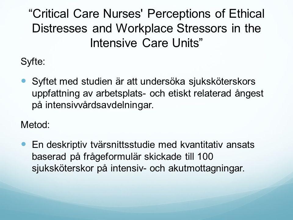Critical Care Nurses Perceptions of Ethical Distresses and Workplace Stressors in the Intensive Care Units Syfte: Syftet med studien är att undersöka sjuksköterskors uppfattning av arbetsplats- och etiskt relaterad ångest på intensivvårdsavdelningar.