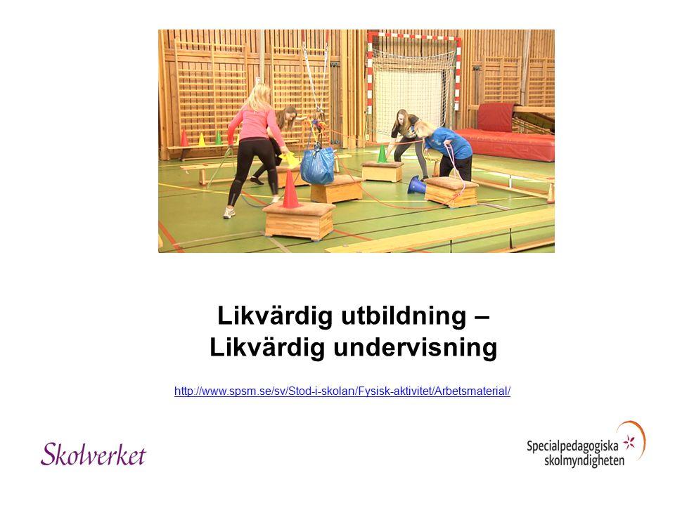 Likvärdig utbildning – Likvärdig undervisning http://www.spsm.se/sv/Stod-i-skolan/Fysisk-aktivitet/Arbetsmaterial/