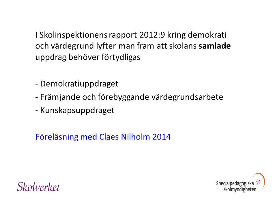 I Skolinspektionens rapport 2012:9 kring demokrati och värdegrund lyfter man fram att skolans samlade uppdrag behöver förtydligas - Demokratiuppdraget - Främjande och förebyggande värdegrundsarbete - Kunskapsuppdraget Föreläsning med Claes Nilholm 2014