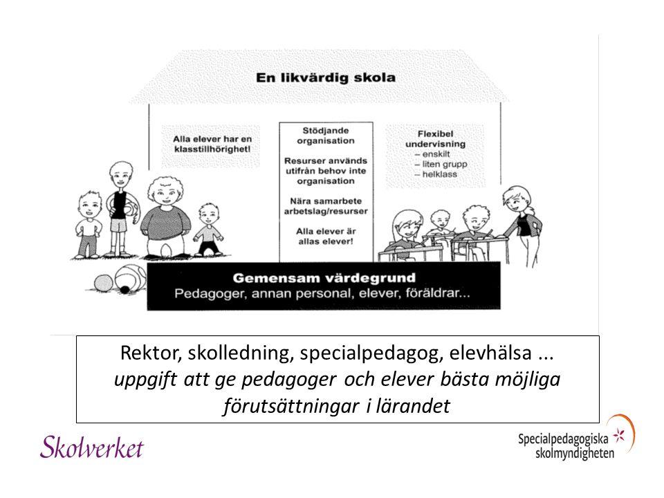 Rektor, skolledning, specialpedagog, elevhälsa... uppgift att ge pedagoger och elever bästa möjliga förutsättningar i lärandet