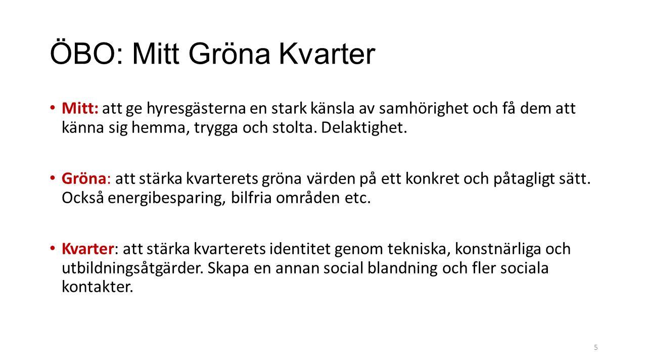 ÖBO: Mitt Gröna Kvarter Mitt: att ge hyresgästerna en stark känsla av samhörighet och få dem att känna sig hemma, trygga och stolta.