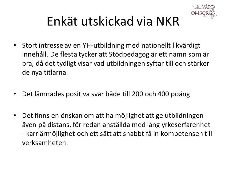 Enkät utskickad via NKR Stort intresse av en YH-utbildning med nationellt likvärdigt innehåll.