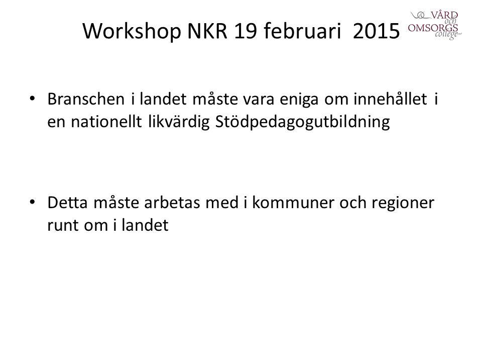 Workshop NKR 19 februari 2015 Branschen i landet måste vara eniga om innehållet i en nationellt likvärdig Stödpedagogutbildning Detta måste arbetas med i kommuner och regioner runt om i landet